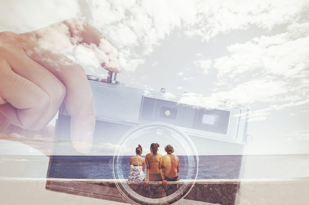 iphotography header title multiple exposure camera lense beach