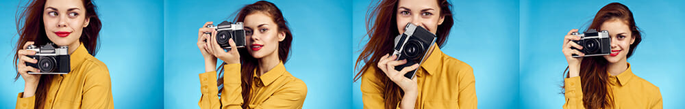 portrait photography tips yellow lady on blue top with camera