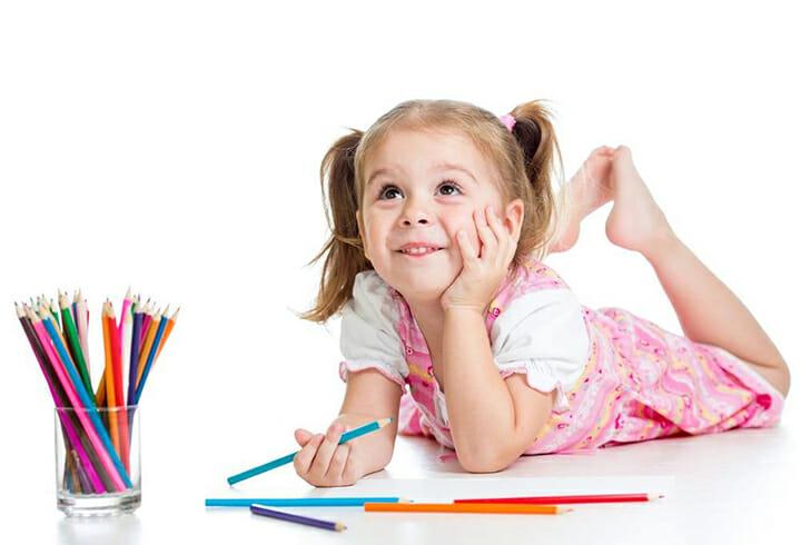 girl thinking drawing