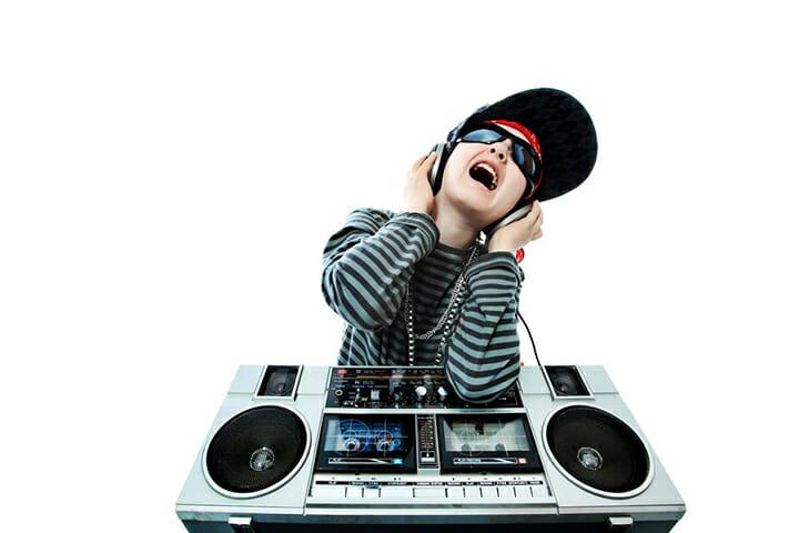 child pretending to DJ