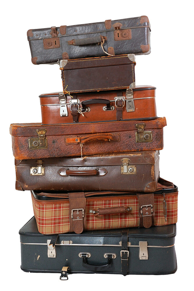 bags luggage stacked old leather retro travel
