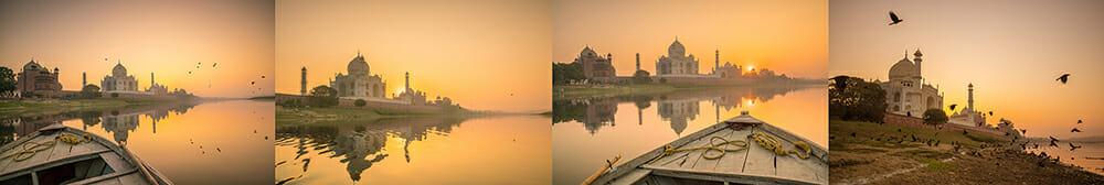 taj mahal india agra boat river water palace travel adventure warm evening sunset