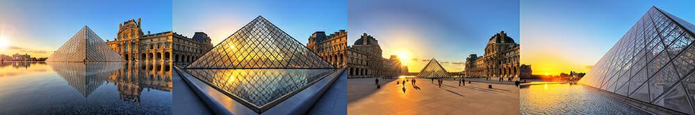paris louvre musuem pyramid evening sunset glass reflection orange blue yellow europe travel photography