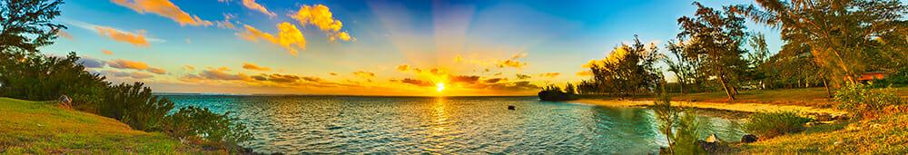 panorama beach tropical palm sand sea sunset yellow blue ocean island travel photography landscape panoramic