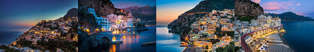 village town cliff water sea ocean lights night holiday travel photography sunset pink blue sky
