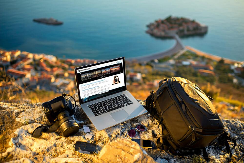 travel camera photography bag laptop camera cliff landscape