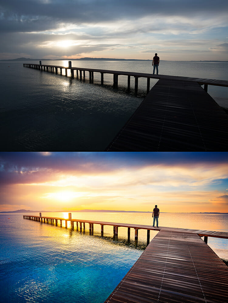 before after post production editing sky contrast colour pier man view water