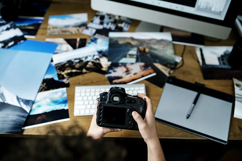 camera desk computer work office creative block