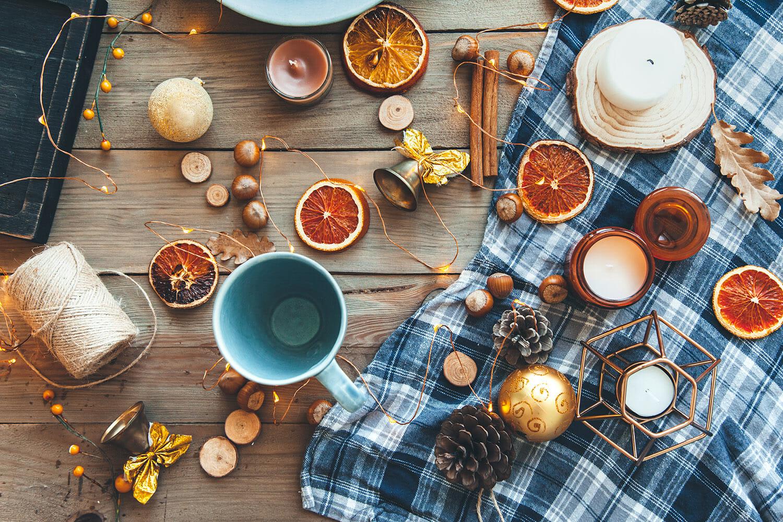 winter kitchen orange yellow lights cold warm drinks hot fruit steam