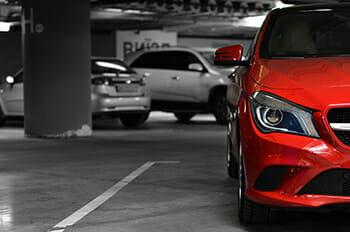 red car carpark mercedes colour splash cropped sports