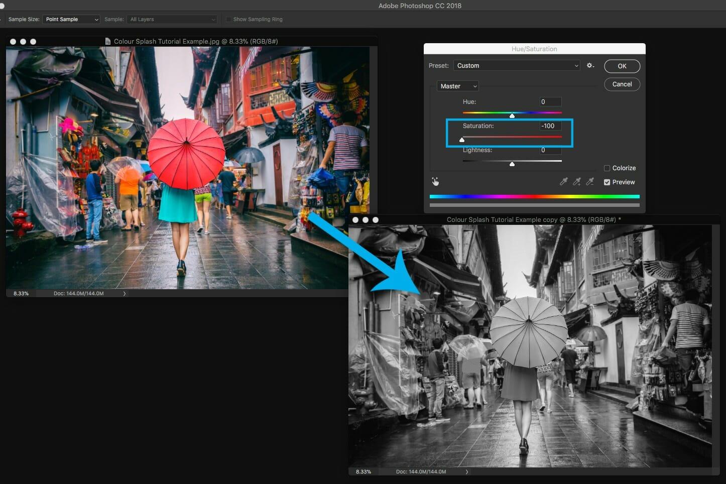 photoshop screen shot editing desaturation tool