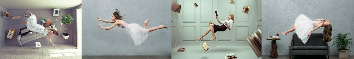 levitation floating ladies books model photography trick Levitation photography
