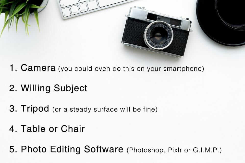 camera list flat lay table white black text writing plant green  Levitation photography