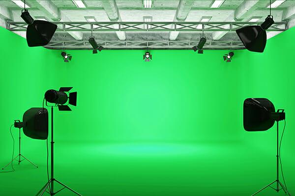 green screen studio set lighting