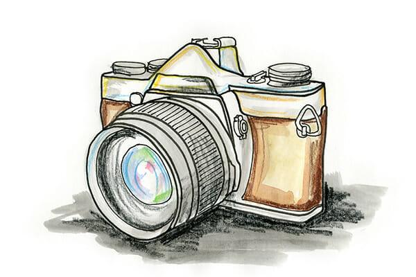 hand drawn camera illustration photography