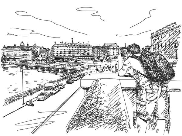 photographer taking picture of city hand drawn illustration