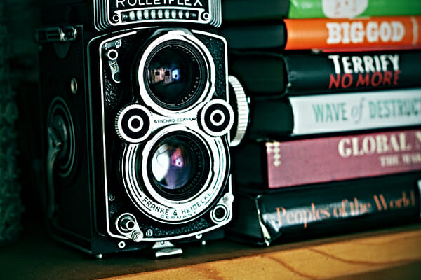 twin lens vintage camera rolleiflex books