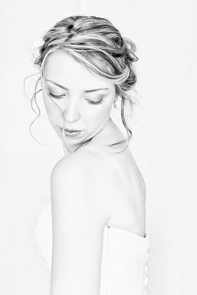 high key bridal portrait