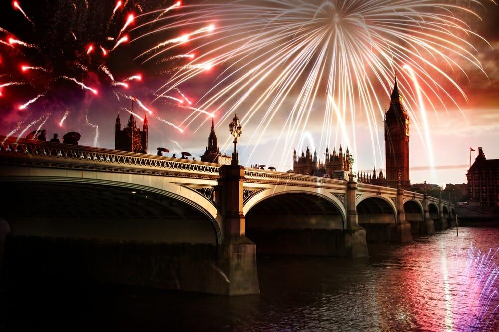 firework photography over london bridge UK