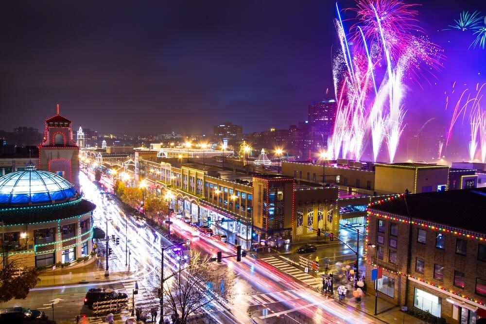 firework display over city