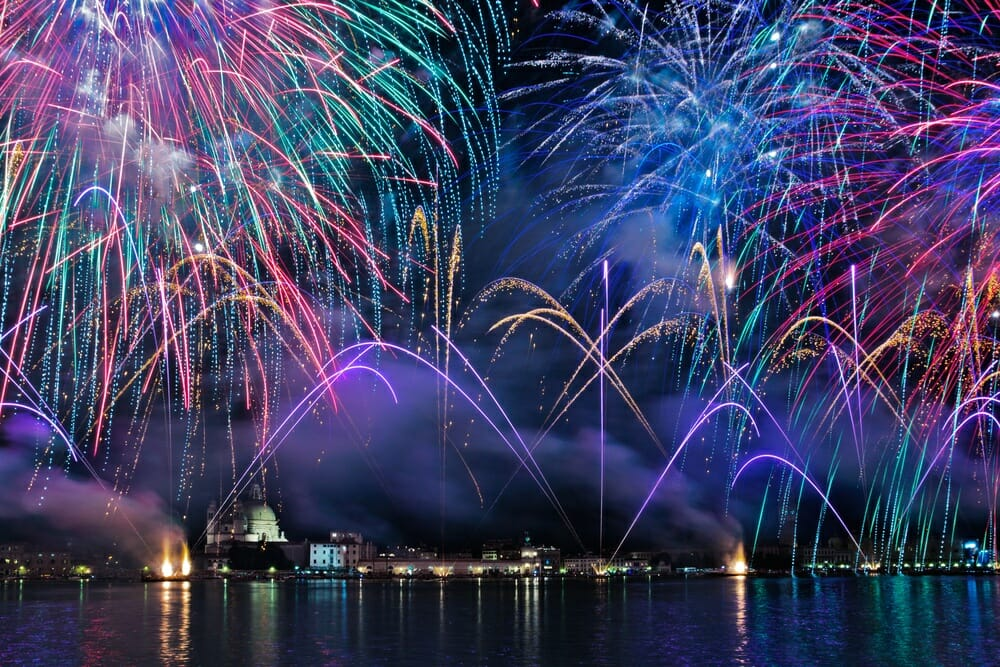 firework display over water
