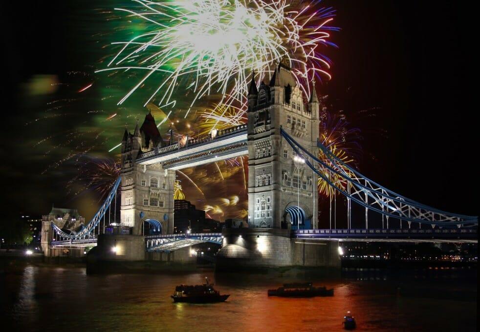 firework display over london tower bridge