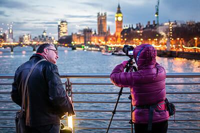 two photographers on london bridge