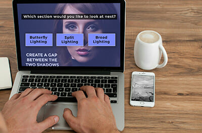 interactive video screen on laptop