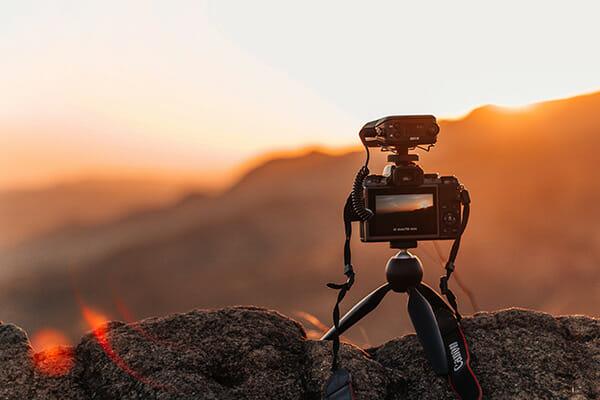 sat on rocks sunset