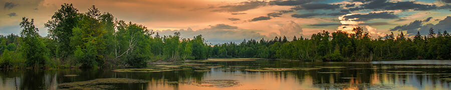 landscape photography water mountain trees at sunset