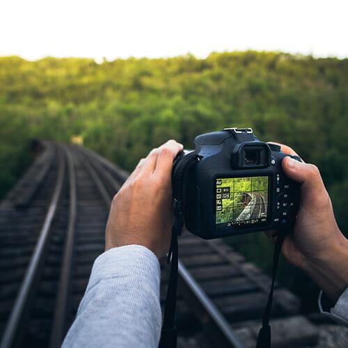 camera focus railway tracks landscape