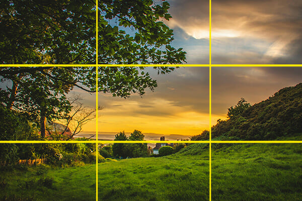 sunset over countryside village rule of thirds composition landscape photography
