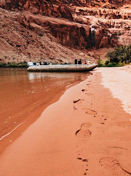 Colorado riverbed sand footsteps