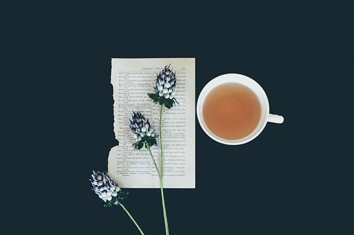 tea and reading flatlay