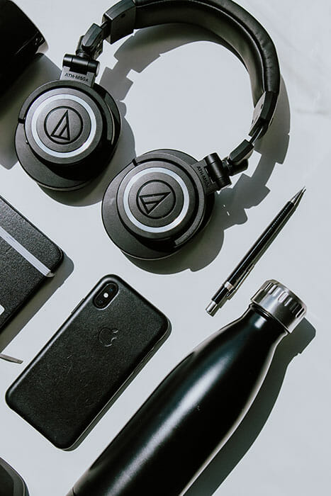 tech flat lay with headphones
