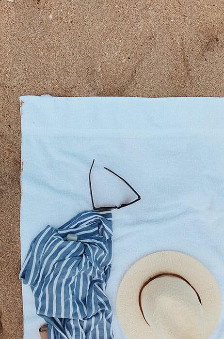 beach towel on sand