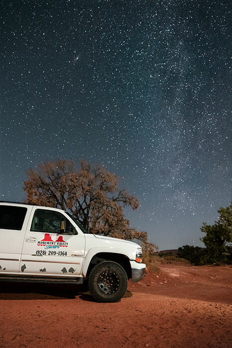 astrophotography of a car at hunts mesa by emily lowrey