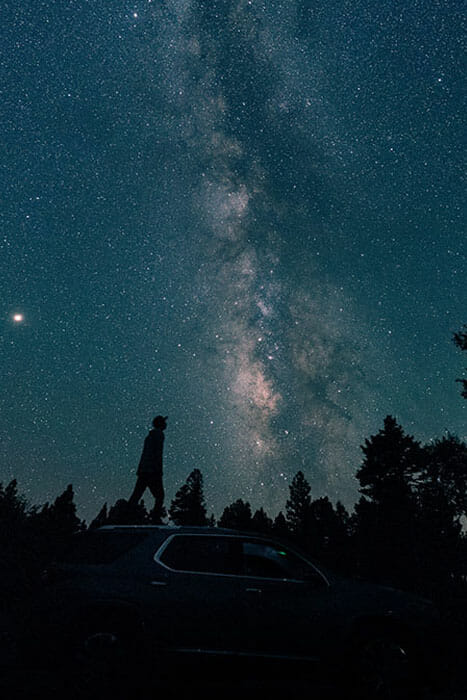 astrophotography shot with a car