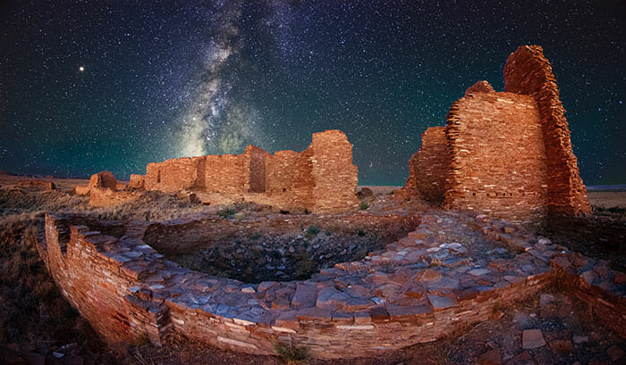 ruin photo with milky way