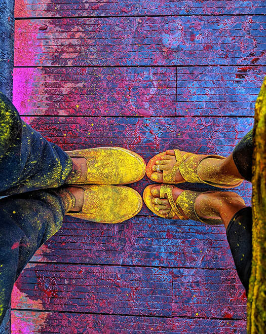 shoes covered in paint powder