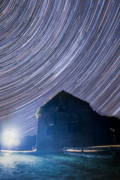 wales star trails around a building