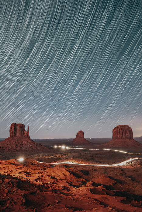 star trails in monument valley