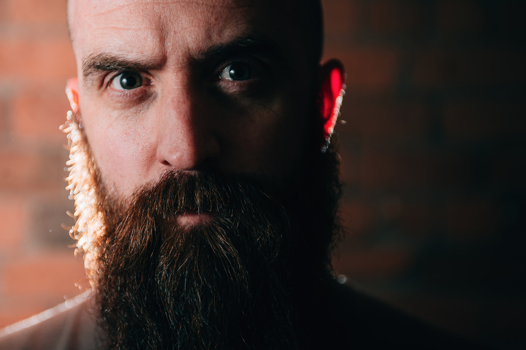 a bearded man staring intensely