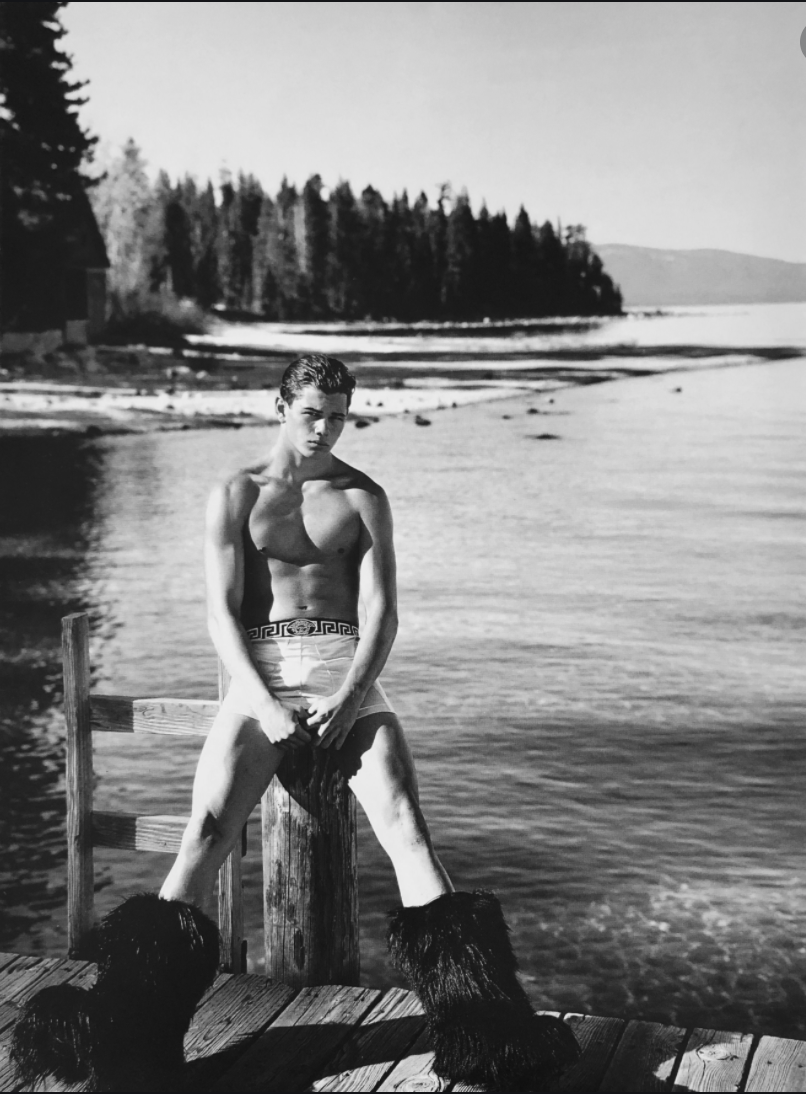 a man with hair boots wearing underwear LGBTQ+ photography