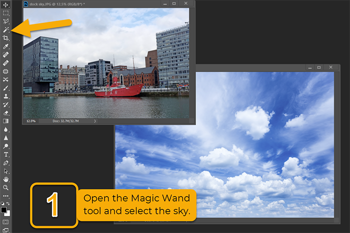 replacing sky in photoshop magic wand