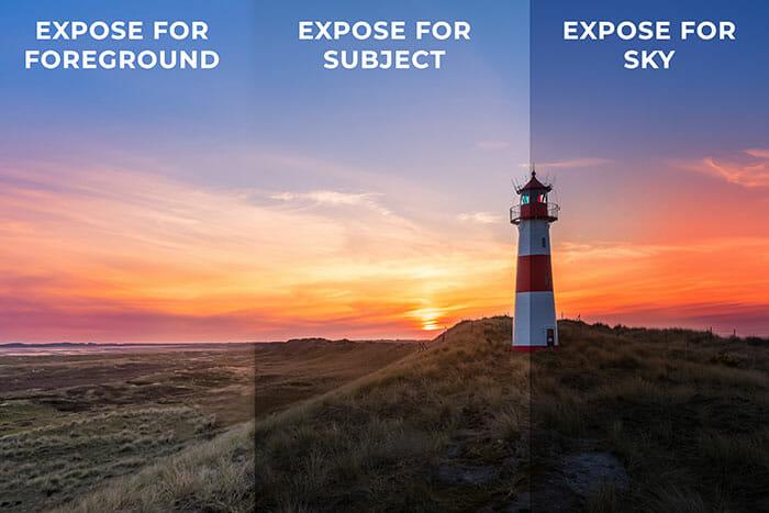 sunrise photography  AEB exposure bracketing lighthouse