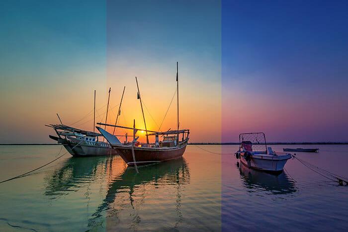 sunrise photography white balance example