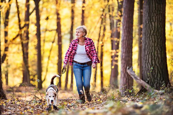 pet photography lady walking dog 1