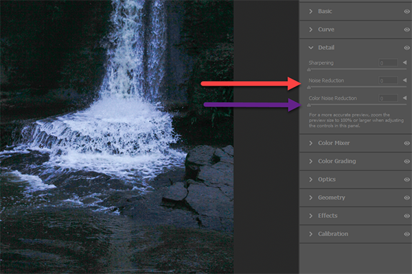 Noise Reduction Example Camera RAW