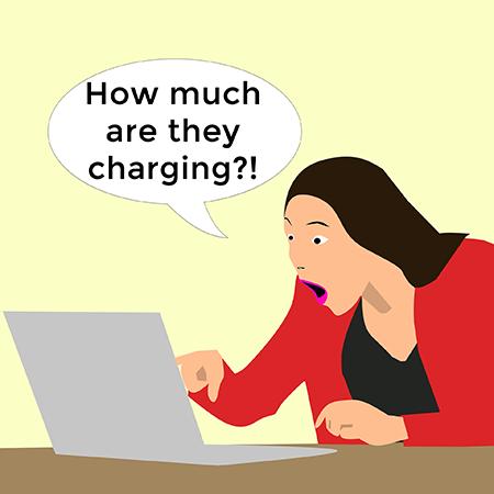 woman at laptop shocked face price my work